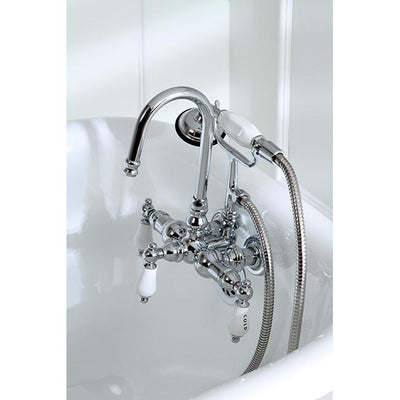 Kingston Chrome Wall Mount Clawfoot Tub Filler Faucet with Hand Shower CC10T1
