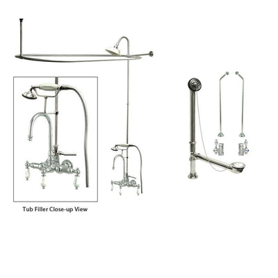 Chrome Clawfoot Tub Faucet Shower Kit with Enclosure Curtain Rod 10T1CTS