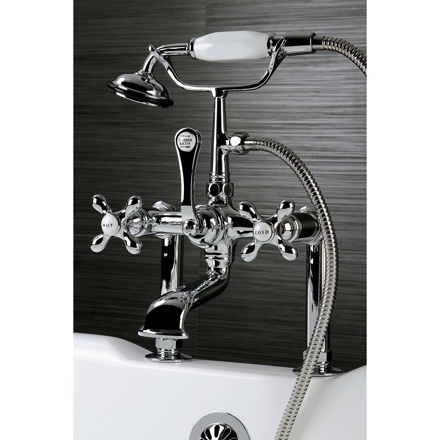 Kingston Chrome Deck Mount Clawfoot Tub Filler Faucet with Hand ...