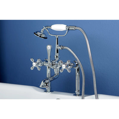 Kingston Chrome Deck Mount Clawfoot Tub Filler Faucet with Hand Shower CC110T1