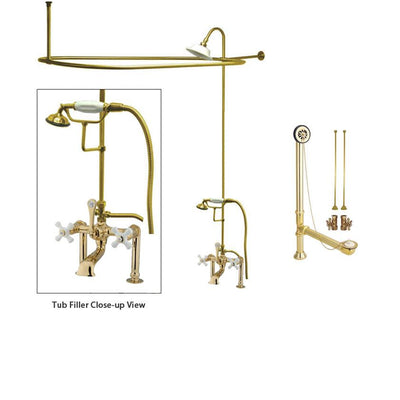 Polished Brass Clawfoot Tub Faucet Shower Kit with Enclosure Curtain Rod 111T2CTS