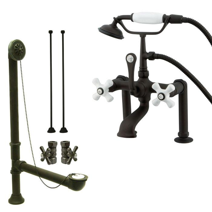 Oil Rubbed Bronze Deck Mount Clawfoot Tub Faucet Package w Drain Supplies Stops CC111T5system