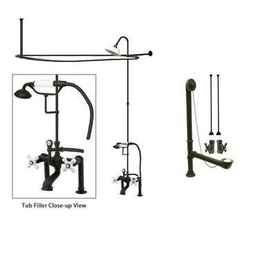 Oil Rubbed Bronze Clawfoot Tub Shower Faucet Kit with Enclosure Curtain Rod 111T5CTS