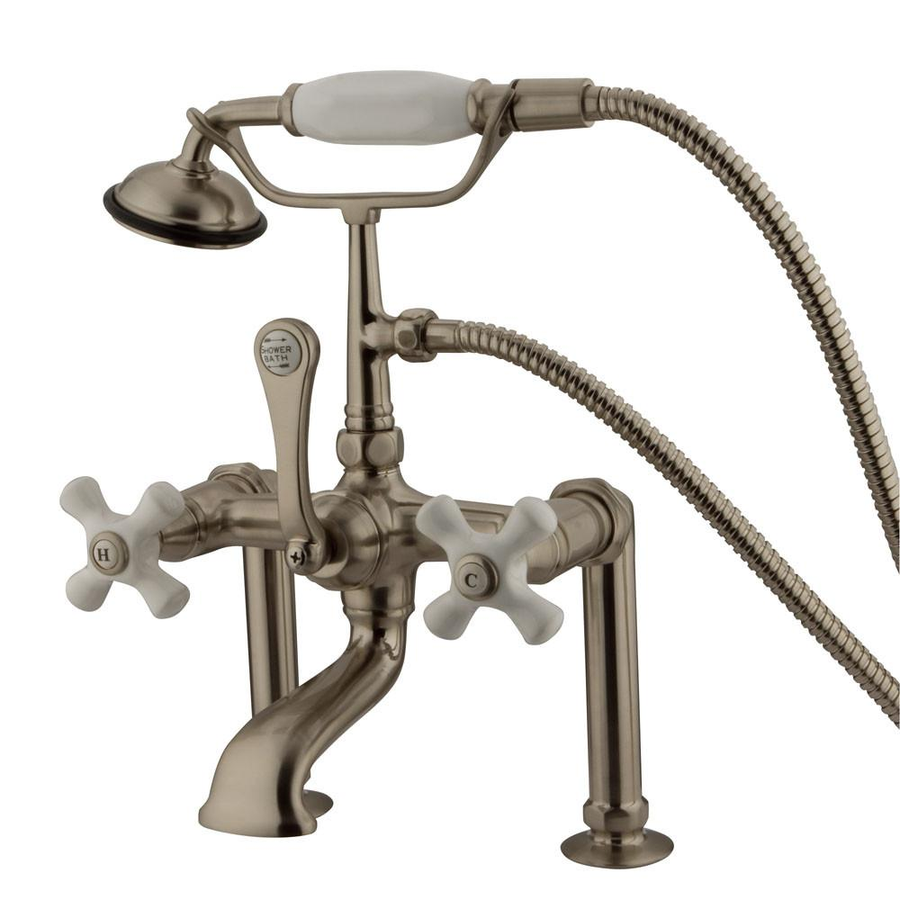 Kingston Satin Nickel Deck Mount Clawfoot Tub Faucet with Hand Shower CC111T8