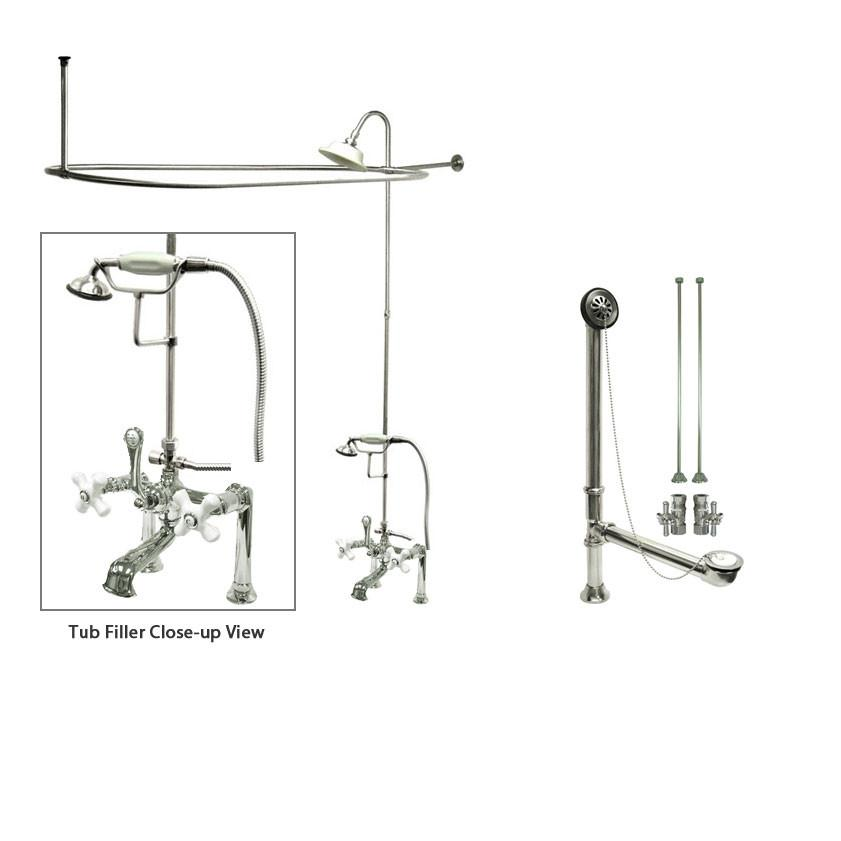 Chrome Clawfoot Tub Faucet Shower Kit with Enclosure Curtain Rod 112T1CTS