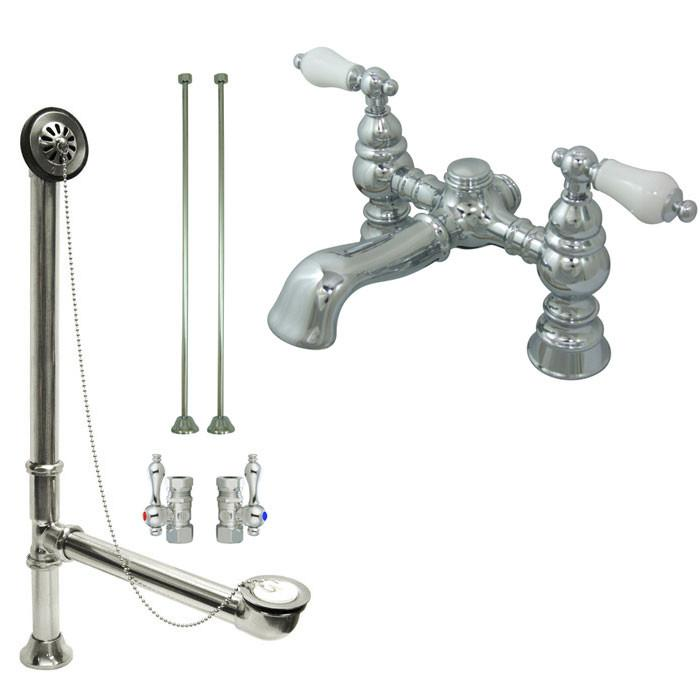 Deck Mount Clawfoot Tub Faucet.Chrome Deck Mount Clawfoot Tub Faucet Package W Drain Supplies Stops Cc1130t1system