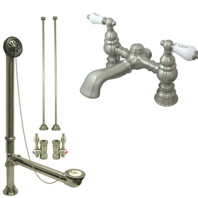 Satin Nickel Deck Mount Clawfoot Tub Faucet Package w Drain Supplies Stops CC1132T8system