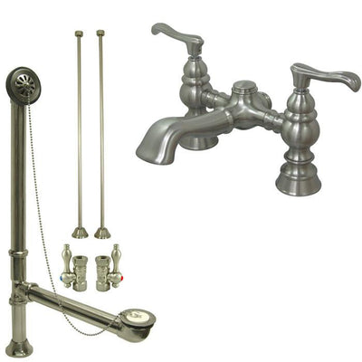 Satin Nickel Deck Mount Clawfoot Tub Faucet Package w Drain Supplies Stops CC1138T8system