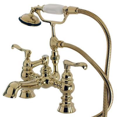 Kingston Polished Brass Deck Mount Clawfoot Tub Faucet w hand shower CC1152T2