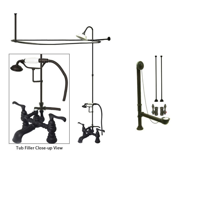 Oil Rubbed Bronze Clawfoot Bath Tub Faucet Shower Kit with Enclosure Curtain Rod 1152T5CTS