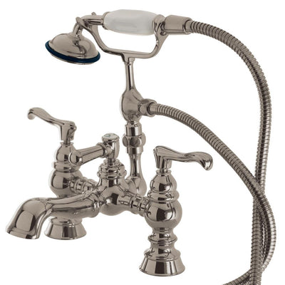 Kingston Satin Nickel Deck Mount Clawfoot Tub Faucet w hand shower CC1152T8