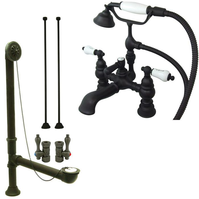 Oil Rubbed Bronze Deck Mount Clawfoot Tub Faucet w hand shower System Package CC1154T5system