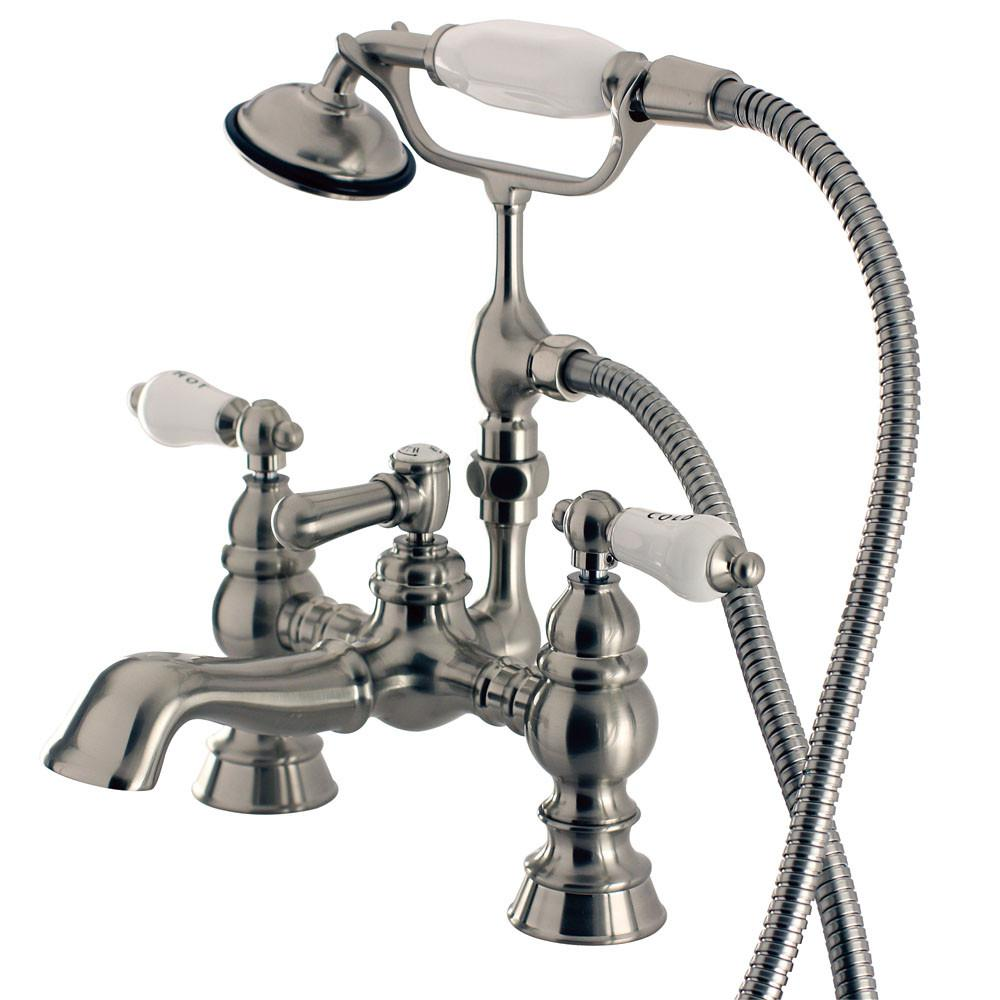 Kingston Satin Nickel Deck Mount Clawfoot Tub Faucet w hand shower CC1154T8