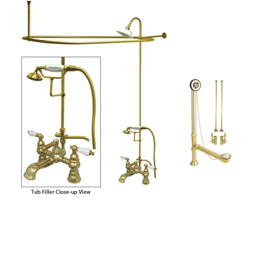 Polished Brass Clawfoot Tub Faucet Shower Kit with Enclosure Curtain Rod 1156T2CTS