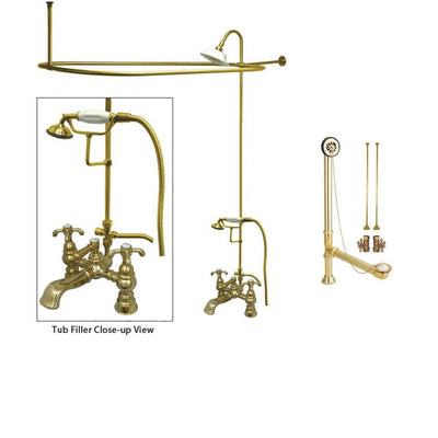 Polished Brass Clawfoot Tub Faucet Shower Kit with Enclosure Curtain Rod 1158T2CTS