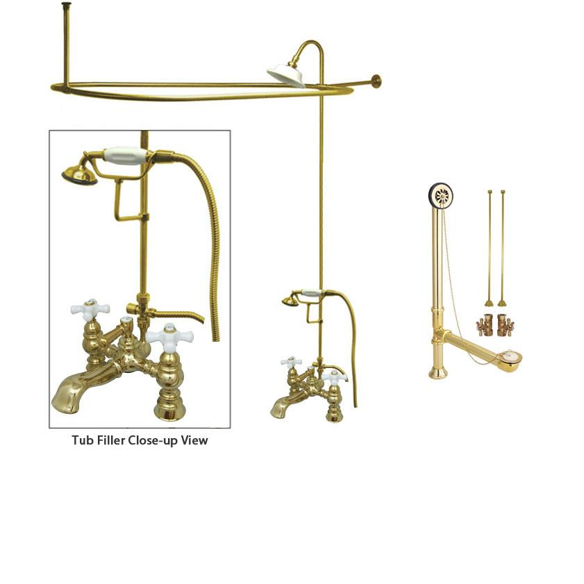 Polished Brass Clawfoot Tub Faucet Shower Kit with Enclosure Curtain Rod 1160T2CTS
