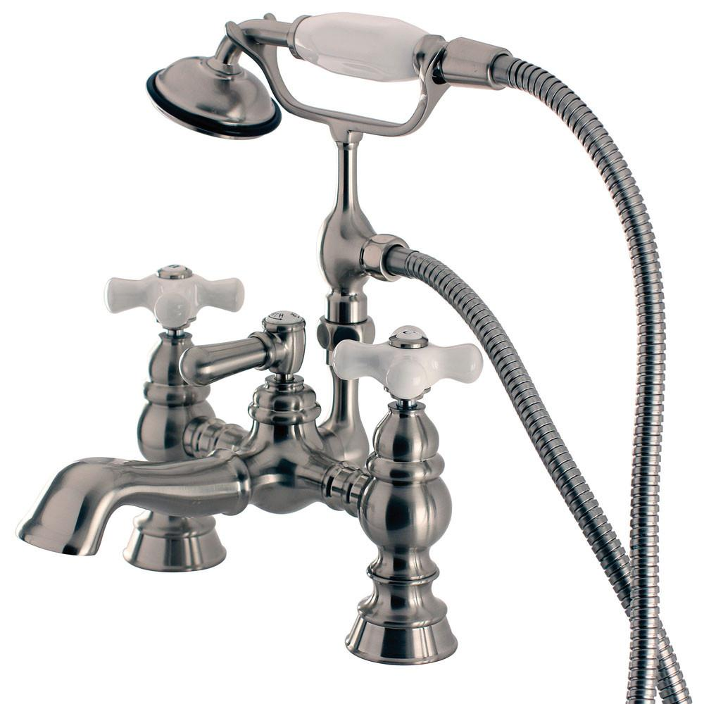 Kingston Satin Nickel Deck Mount Clawfoot Tub Faucet w hand shower CC1160T8