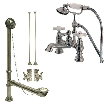 Satin Nickel Deck Mount Clawfoot Tub Faucet w hand shower w Drain Supplies Stops CC1160T8system