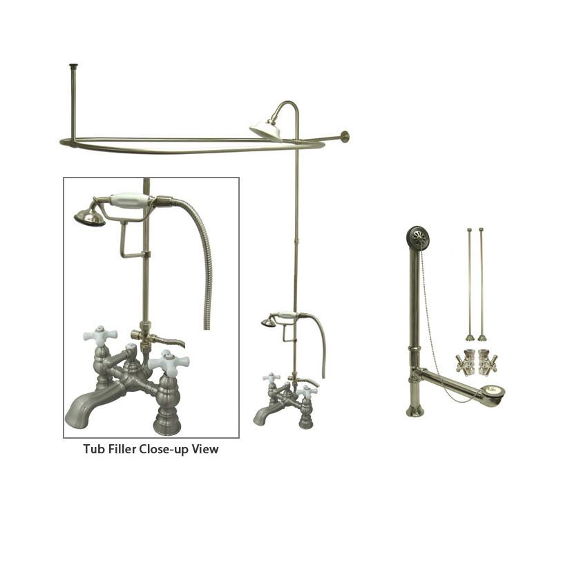 Satin Nickel Clawfoot Bathtub Faucet Shower Kit with Enclosure Curtain Rod 1160T8CTS