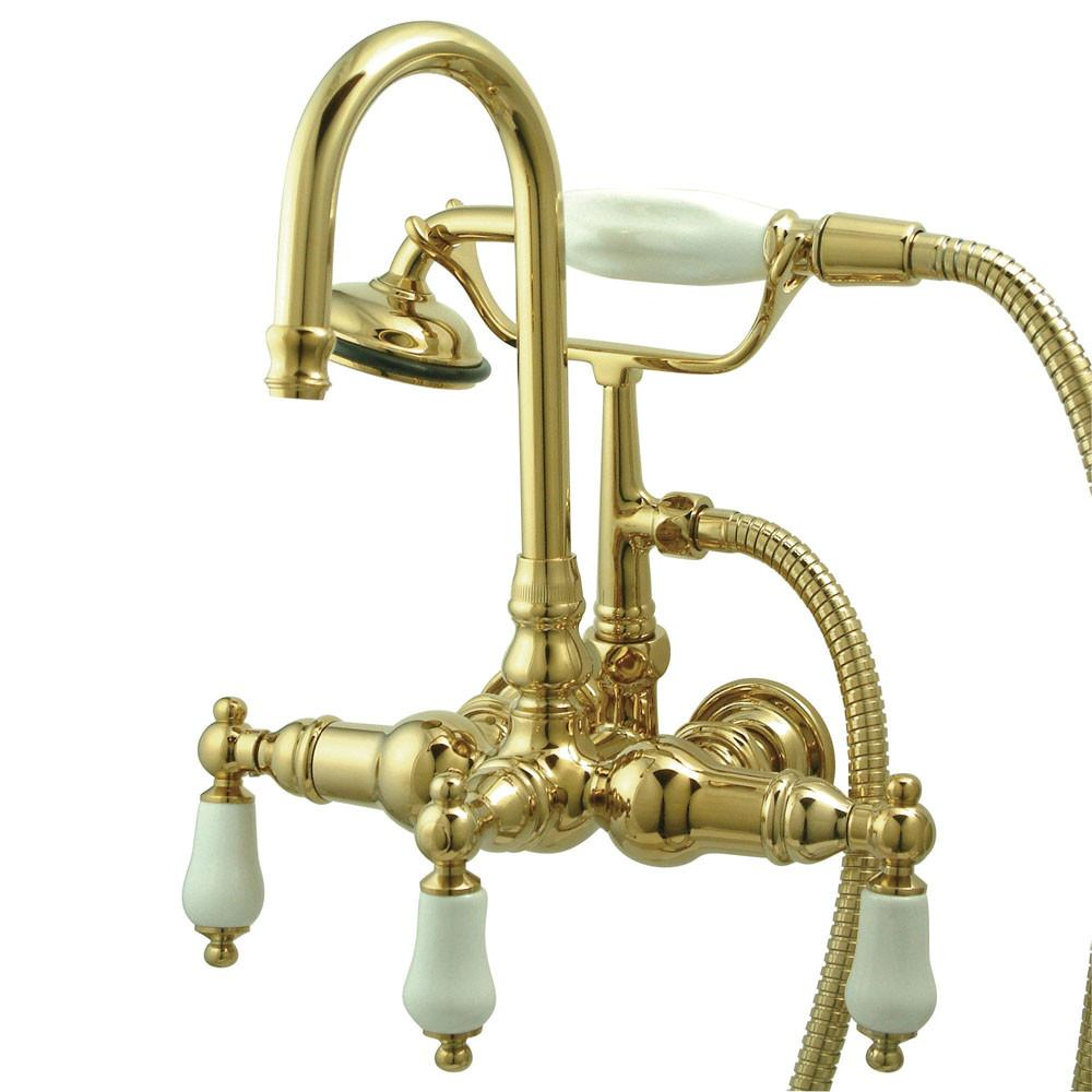 Kingston Polished Brass Wall Mount Clawfoot Tub Faucet w hand shower CC11T2