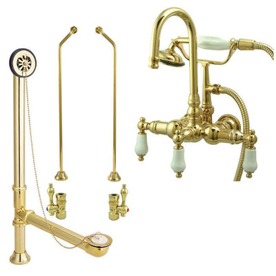 Polished Brass Wall Mount Clawfoot Tub Faucet Package w Drain Supplies Stops CC11T2system