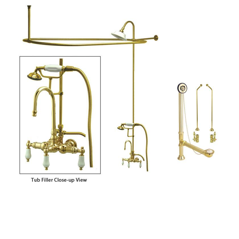 Polished Brass Clawfoot Tub Faucet Shower Kit with Enclosure Curtain Rod 11T2CTS