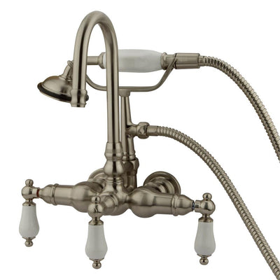 Kingston Brass Satin Nickel Wall Mount Clawfoot Tub Faucet w hand shower CC11T8