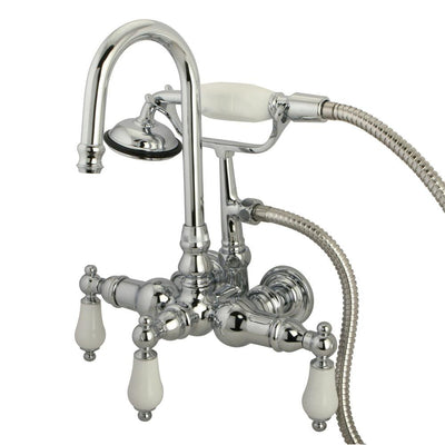 Kingston Chrome Wall Mount Clawfoot Tub Filler Faucet with Hand Shower CC12T1