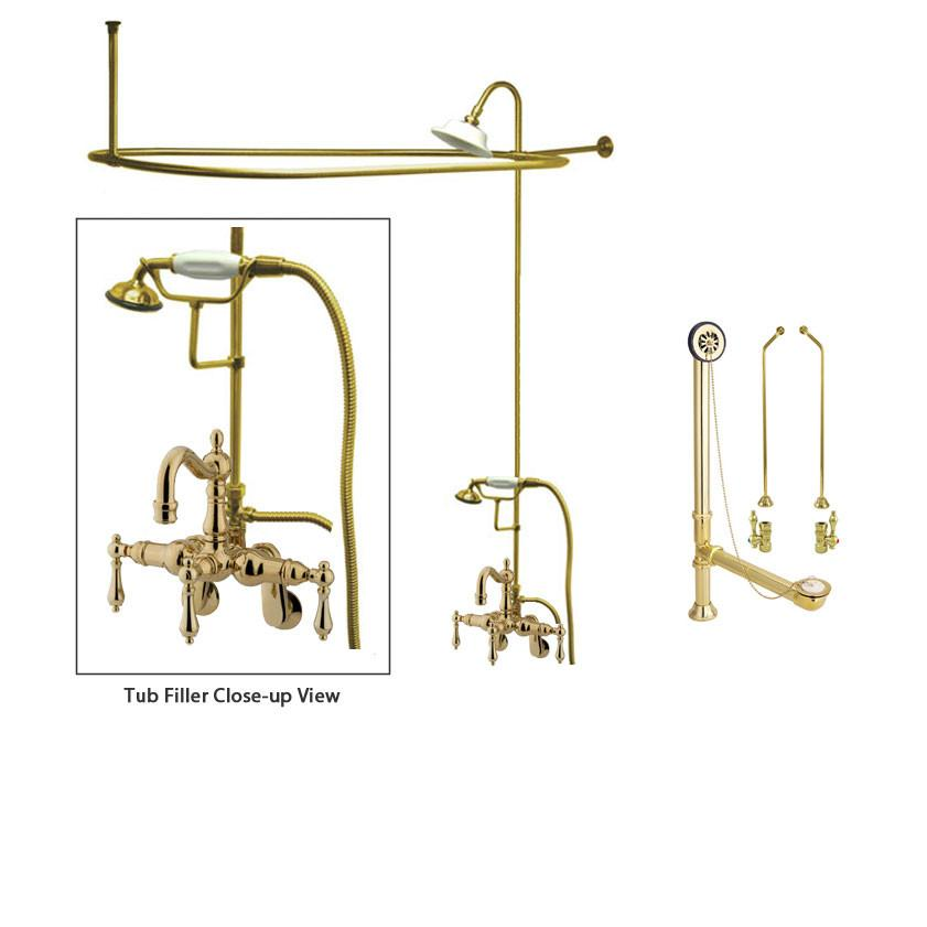Polished Brass Clawfoot Tub Faucet Shower Kit with Enclosure Curtain Rod 1301T2CTS
