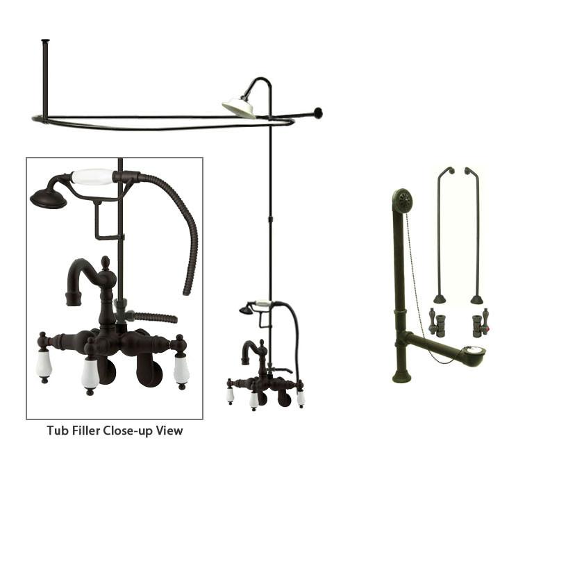 Oil Rubbed Bronze Clawfoot Tub Faucet Shower Kit with Enclosure Curtain Rod 1305T5CTS