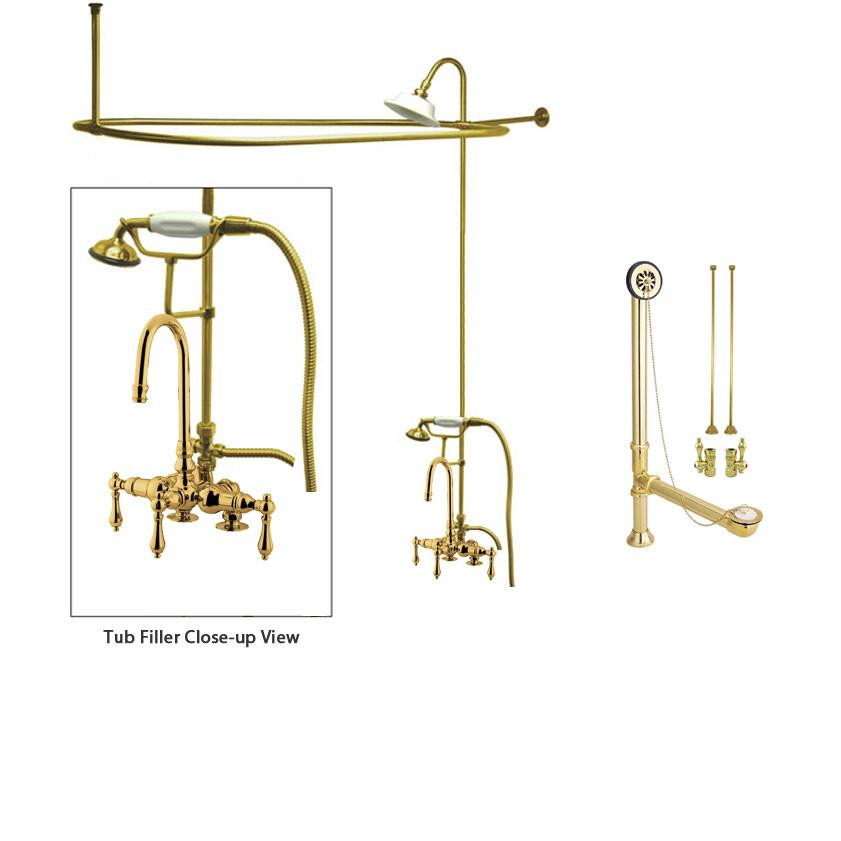 Polished Brass Clawfoot Tub Shower Faucet Kit with Enclosure Curtain Rod 13T2CTS