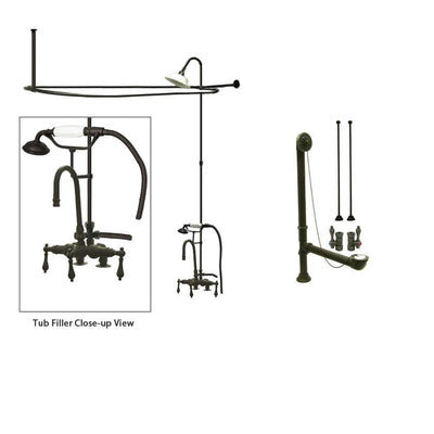 Oil Rubbed Bronze Clawfoot Tub Faucet Shower Kit with Enclosure Curtain Rod 13T5CTS