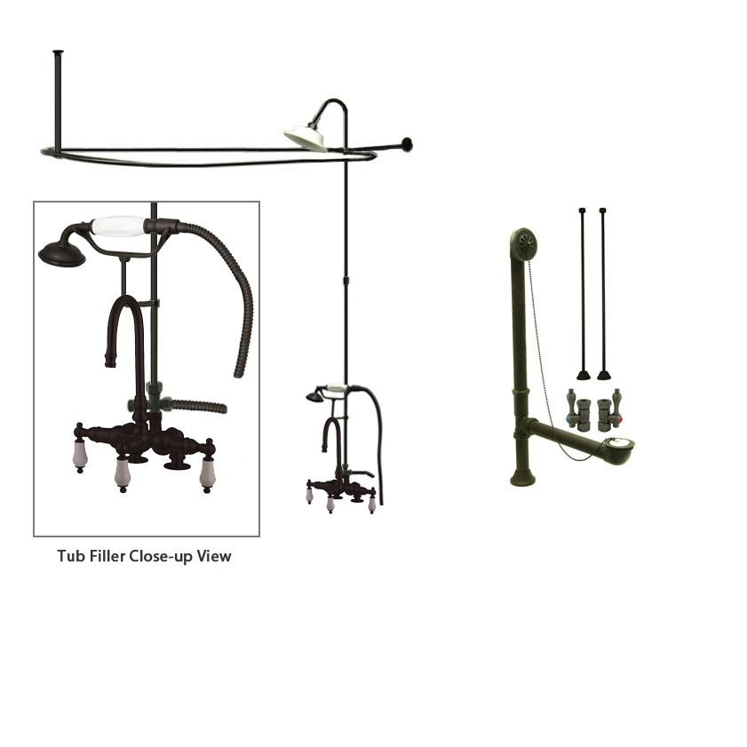 Oil Rubbed Bronze Clawfoot Tub Faucet Shower Kit with Enclosure Curtain Rod 15T5CTS