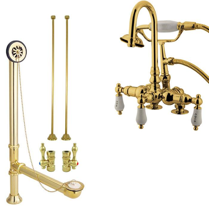 Clawfoot Tub Faucet Kit Complete With Faucet Drain Supplies