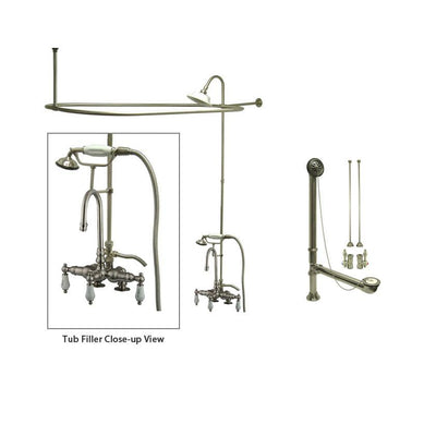 Satin Nickel Clawfoot Tub Faucet Shower Kit with Enclosure Curtain Rod 17T8CTS