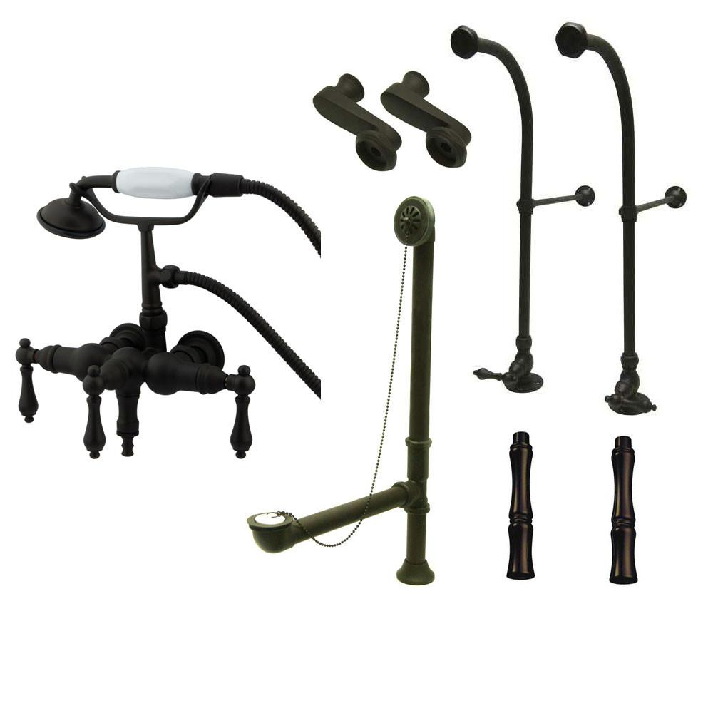 Freestanding Floor Mount Oil Rubbed Bronze Metal Lever Handle Clawfoot Tub Filler Faucet with Hand Shower Package 19T5FSP