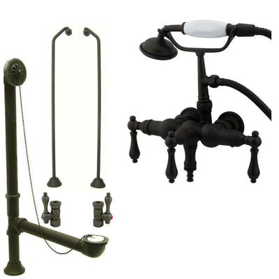 Oil Rubbed Bronze Wall Mount Clawfoot Bath Tub Faucet w Hand Shower Package CC19T5system