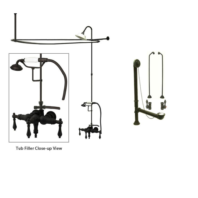 Oil Rubbed Bronze Clawfoot Tub Faucet Shower Kit with Enclosure Curtain Rod 19T5CTS