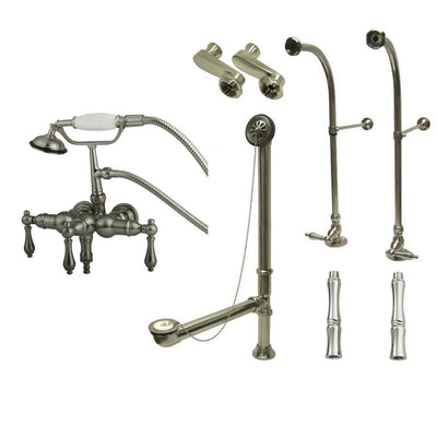 Freestanding Floor Mount Satin Nickel Metal Lever Handle Clawfoot Tub Filler Faucet with Hand Shower Package 19T8FSP
