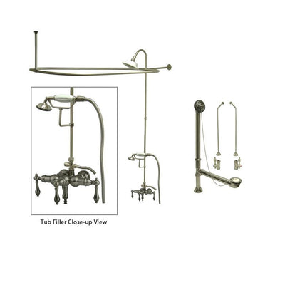 Satin Nickel Clawfoot Tub Faucet Shower Kit with Enclosure Curtain Rod 19T8CTS