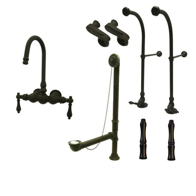 Freestanding Floor Mount Oil Rubbed Bronze Metal Lever Handle Clawfoot Tub Filler Faucet Package 1T5FSP