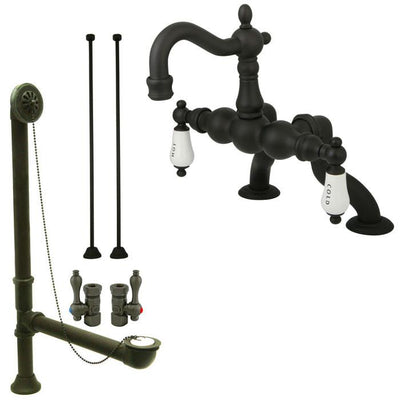 Oil Rubbed Bronze Deck Mount Clawfoot Tub Faucet Package w Drain Supplies Stops CC2003T5system