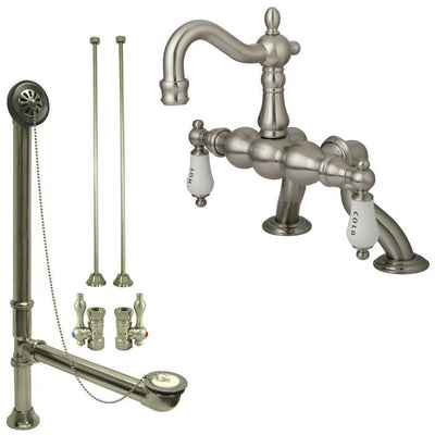 Satin Nickel Deck Mount Clawfoot Tub Faucet Package w Drain Supplies Stops CC2003T8system