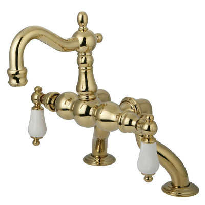 Kingston Brass Polished Brass Deck Mount Clawfoot Tub Faucet CC2005T2