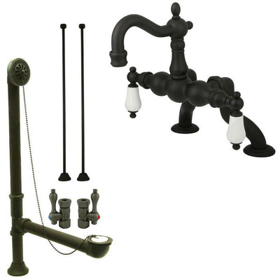 Oil Rubbed Bronze Deck Mount Clawfoot Tub Faucet Package w Drain Supplies Stops CC2005T5system