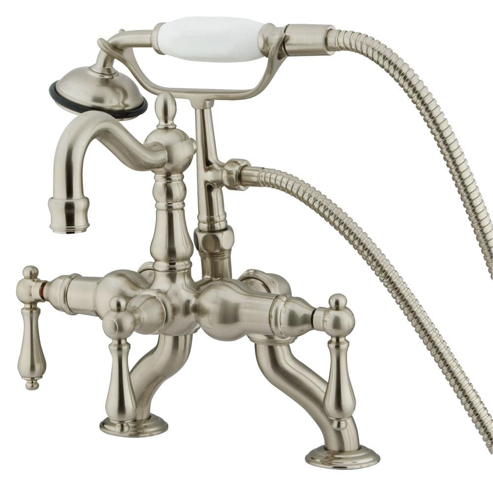 Kingston Satin Nickel Deck Mount Clawfoot Tub Faucet w hand shower CC2007T8