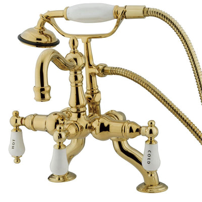 Kingston Polished Brass Deck Mount Clawfoot Tub Faucet w hand shower CC2009T2