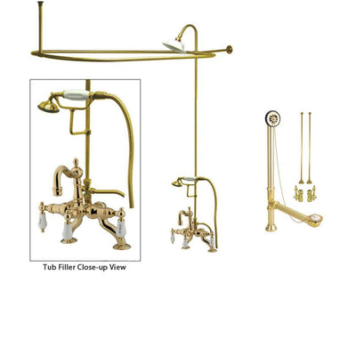 Polished Brass Clawfoot Tub Faucet Shower Kit with Enclosure Curtain Rod 2009T2CTS
