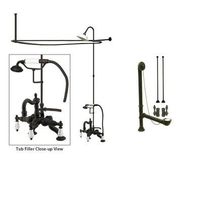 Oil Rubbed Bronze Clawfoot Tub Faucet Shower Kit with Enclosure Curtain Rod 2009T5CTS