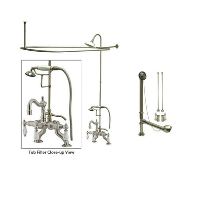 Satin Nickel Clawfoot Tub Faucet Shower Kit with Enclosure Curtain Rod 2009T8CTS